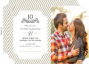 Simple Taupe And White Stripes 10Th Anniversary Invitation