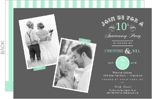 Mint And Gray Flashback Memories 10Th Anniversary Invitation