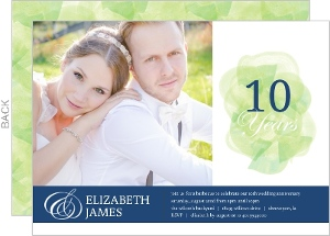 Green Watercolor Stroke 10Th Anniversary Invitation