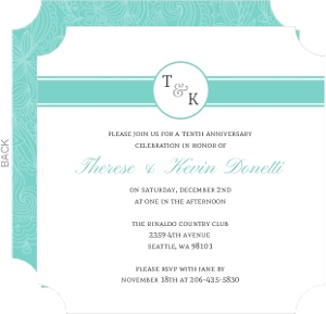Sweet Monogram Anniversary Party Invitation - 3914