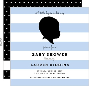 Modern Baby Boy Silhoutte Baby Shower Invitation