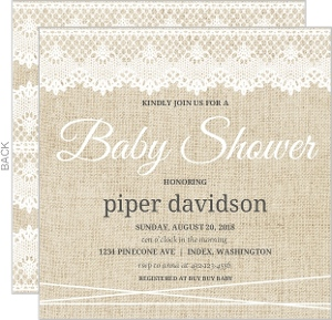 Vintage Burlap Lace Baby Shower Invitation