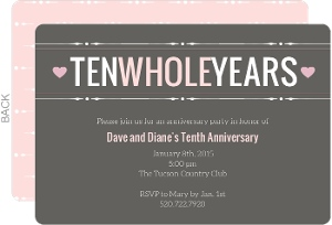 Gray and Pink Ten Year Anniversary Invitation