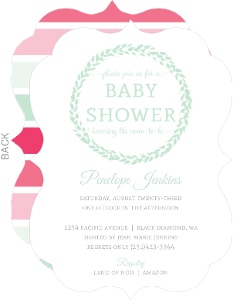Whimsical Wreath Baby Girl Shower Invitation