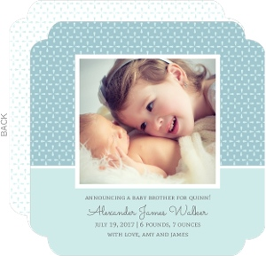 Pale Blue Geometric Pattern Birth Announcement