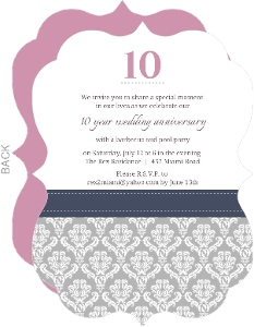 Damask Border 10Th Anniversary Invitation