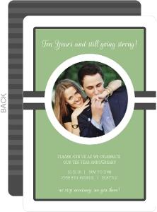 Green and Gray Stripe Photo 10th Anniversary Party Invite