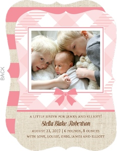Pink Gingham Burlap Birth Announcement