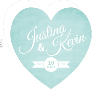 Textured Turquoise Heart 10th Anniversary Invitation