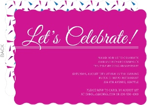 Pink Confetti Let S Celebrate 10Th Anniversary Invitation