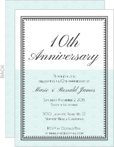 10th Anniversary Mint and White Vintage Anniversary Invite
