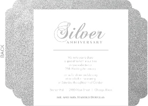 Silver 25th Anniversary Party Invitation