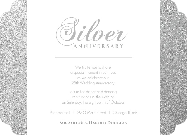 Silver 25th Anniversary Party Invitation – 25th Anniversary Party Invitations
