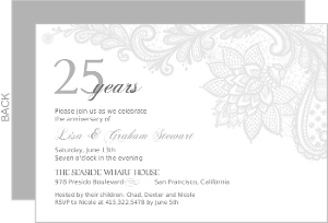 25th anniversary invitations, Wedding invitations