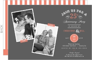 Coral And Gray Flashback Memories 25Th Anniversary Invitation