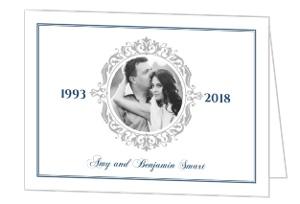Navy and Gray Elegant Frame Silver Anniversary Invitation