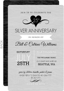 Gray Western Style Silver Anniversary Invitation