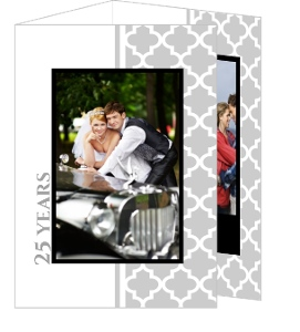 Gray Elegant Pattern Silver Anniversary Invitation