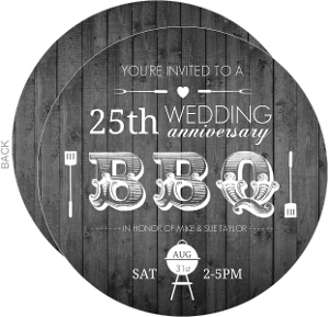 Western Backyard Bbq Silver Anniversary Invitation