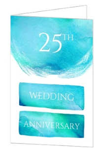 Teal Watercolor 25 Year Wedding Anniversary Party Invitation