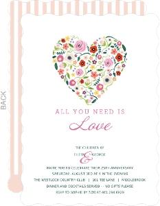 Floral Heart 25Th Anniversary Invitation