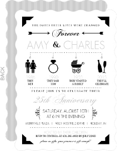 Black And Gray Modern Icons Silver Anniversary Invitation