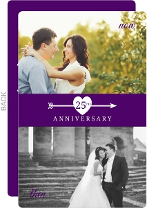 Flashback Purple And White Heart And Arrow 25Th Anniversary Invitation
