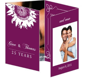 Purple and White Sunflower 25th Anniversary Invitation