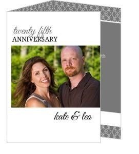 Gray And White Elegant Border Anniversary Invitations - 3936