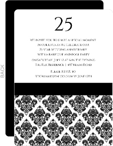 Damask 25Th Anniversary Invitation