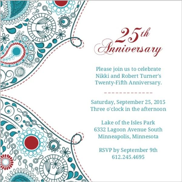 25th anniversary invitation orderecigsjuicefo paisley red anniversary 25th anniversary invite 25th anniversary birthday invitations stopboris Image collections