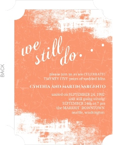 Coral Grunge Wedding Anniversary Party Invitation