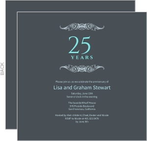 Gray And Teal Anniversary Invitation - 3940