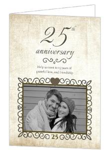 Linen Textured Elegance Anniversary Invite