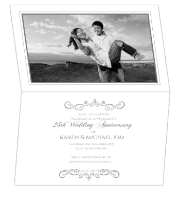 Silver and White Banners 25th Anniversary Party Invite