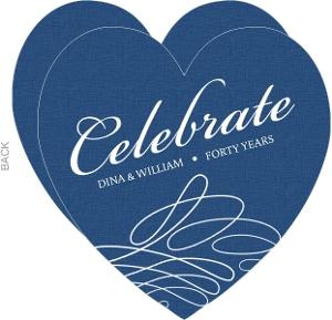 Blue And White Swirl Anniversary Invitation - 4034
