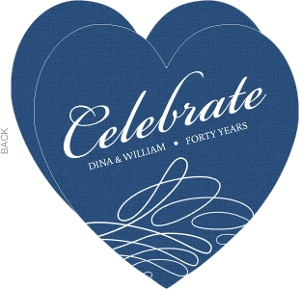Blue and White Swirl Anniversary Invitation