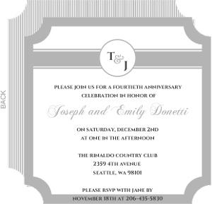 Silver Monogram Anniversary  Anniversary Party Invitation