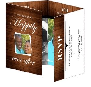 Rustic Wood Grain Anniversary Invite and Rsvp