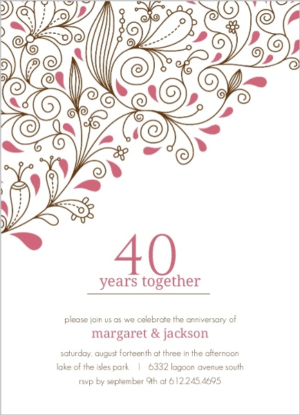 Pink Floral 40Th Anniversary Party Invitation   40th Anniversary ...