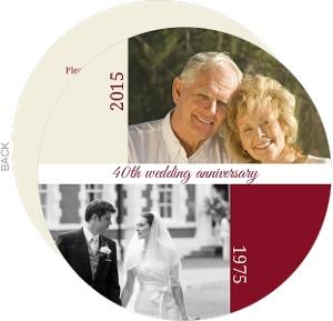 Red And Cream Year Date 40Th Anniversary Invitation
