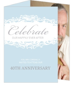Blue Formal Trifold Wedding Anniversary Invitation - 4029
