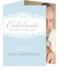 Blue Formal Trifold Wedding Anniversary Invitation - 4029