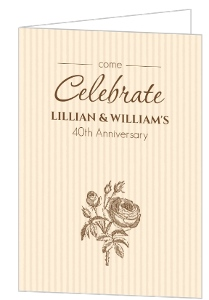 Brown Rose and Anniversary Party Invitation