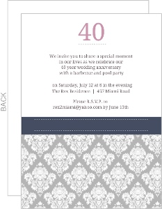 Damask 40Th Anniversary Party Invitation