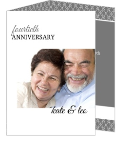 Gray and White Elegant Border Anniversary Invitations