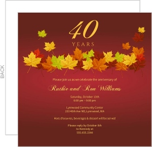 Red Anniversary Fall Leaves Anniversary Invitation - 4015