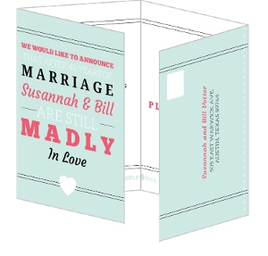 Blue And Pink Madly In Love 40Th Anniversary Party Invitation