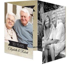 Shimmer Gold and Black 50th Wedding Anniversary Invitation