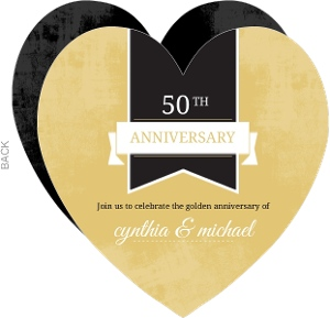 Gold and Black Modern Banner 50th Anniversary Invitation